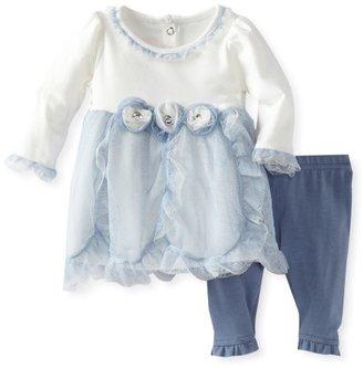 Nannette Baby-Girls Newborn 2 Piece Mesh Flower Dress Legging Set