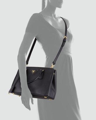 Prada Saffiano Double-Zip Mini Crossbody, Black (Nero)