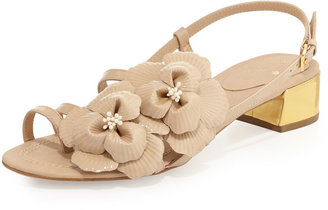 Kate Spade Verbena Patent Flower Sandal, Powder