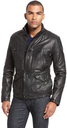 HUGO BOSS 'Joron' | Stand Collar Leather Jacket by BOSS Orange