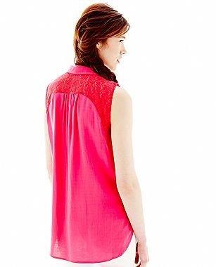 L'amour Nanette Lepore Sleeveless Lace Shirt