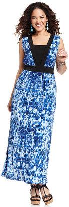 Amy Byer Plus Size Plus Size Dress, Sleeveless Layered-Look Maxi