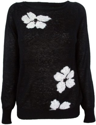 Band Of Outsiders Intarsia Sweater with Flowers