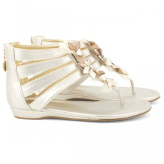 Stuart Weitzman Gold Sandals with Flower Detail
