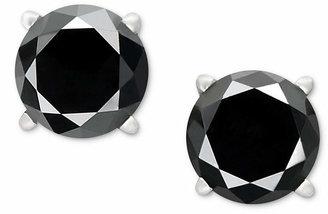 Macy's 14k White Gold Earrings, Black Diamond Stud Earrings (1 ct. t.w.)