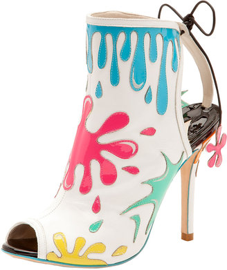 Webster Sophia Arty Party Paint-Splatter Patent Bootie, White/Multicolor