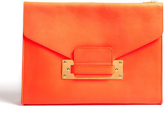 Sophie Hulme Coral Soft Leather Envelope Clutch Bag With Gold Plated Hard