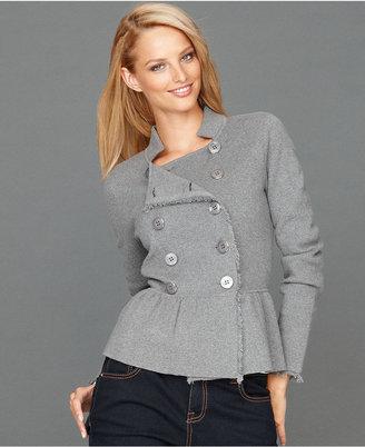 INC International Concepts Long-Sleeve Double-Breasted Peplum Cardigan