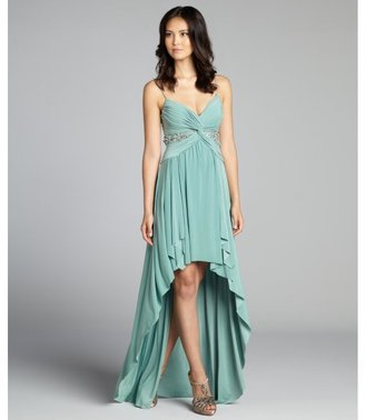 Mignon mint green embellished spaghetti strap high-low jersey knit gown