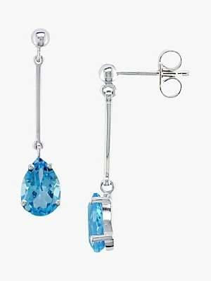 E.W Adams 9ct White Gold Long Drop Blue Topaz Drop Earrings