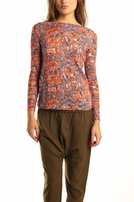 Suno Long Sleeve Boatneck in Red/Blue Stained Glass