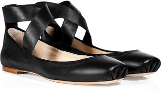 Chloé Black Leather Elastic Ankle Strap Flats