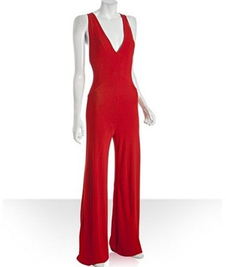 Alexander McQueen red stretch deep v-neck jersey