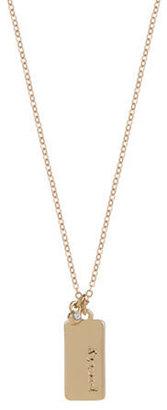 Kensie Plaque Pendant Necklace with Rhinestone Accent