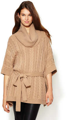Autumn Cashmere Cable Cowl Belted Poncho