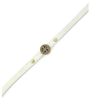 BCBGeneration BCBGenerationTM White and Goldtone Peace Sign Mini Charm Bracelet