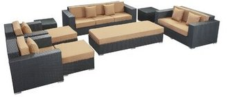 Modway Eclipse 9 Piece Rattan Sofa Set with Cushions
