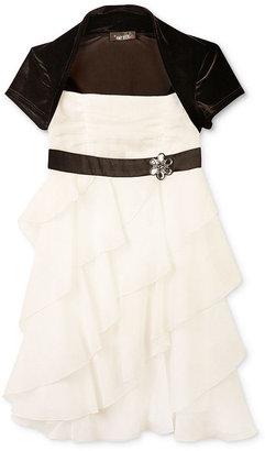 Amy Byer Girls Dress, Little Girls Corkscrew Ruffle Shrug Dress