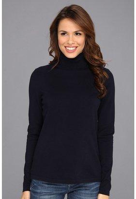 Jones New York L/S Cotton Turtleneck Sweater (French Navy) - Apparel