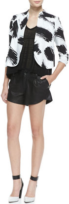 Alice + Olivia Butterfly Pleated Leather Shorts