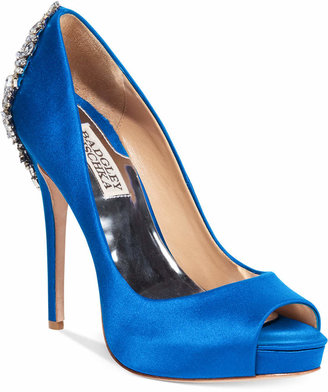 Badgley Mischka Kiara Embellished Peep-Toe Evening Pumps Women's Shoes $245 thestylecure.com