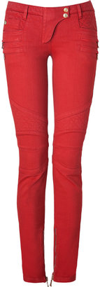 Balmain Rouge Low-Rise Denim Biker Jeans