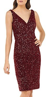 Carmen Marc Valvo Sequin V-Neck Cocktail Dress