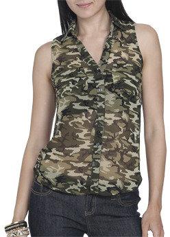 Wet Seal WetSeal Camo Sleeveless Shirt Camouflage