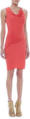 Halston Sleeveless Ruched Drape Dress