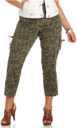 Style&Co. Plus Size Pants, Camouflage-Print Cargo Capri