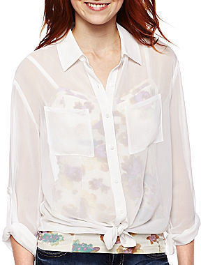 JCPenney Decree Roll Tab Button-Front Shirt