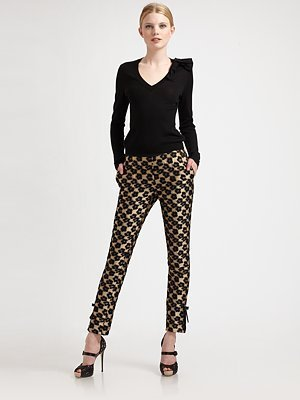 RED Valentino Leopard/Floral Jacquard Pants