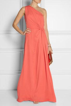 Halston One-shoulder georgette gown