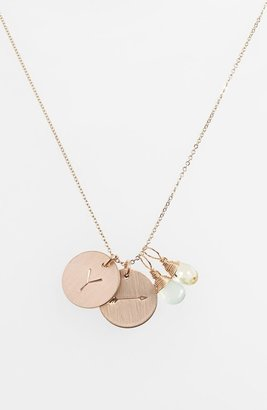 Nashelle Aqua Chalcedony, Lemon Quartz, Initial & Arrow 14k-Gold Fill Disc Necklace