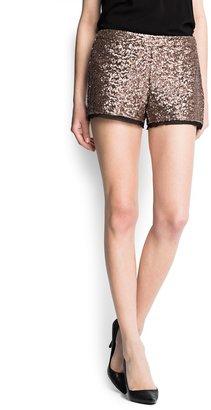 MANGO Chiffon hems sequined shorts