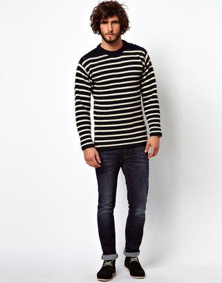 G Star Crew Knit Sweater Eger Striped Shoulder Button