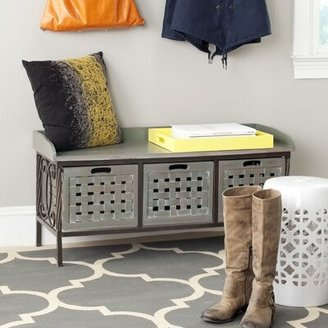 Safavieh Noah Solid Wood Drawer Storage Bench Color: French Grey