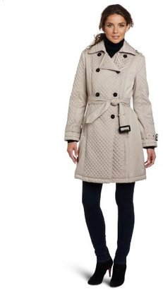 Kenneth Cole Women's Mini Quilted Trench Coat