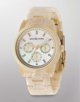 Michael Kors Mother-of-Pearl Dial Acrylic Chronograph Watch