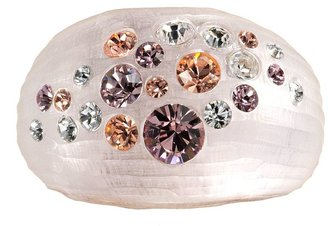 Swarovski Crystal ice 14k rose gold plated & pink lucite crystal dome ring - made with elements