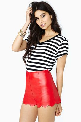 Nasty Gal Fever Dream Faux Leather Shorts - Red