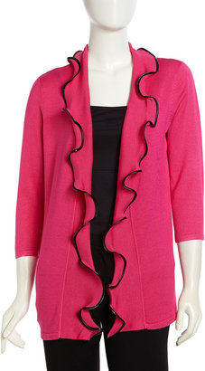 Neiman Marcus Trimmed Ruffle Cozy Cardigan, Cloudless
