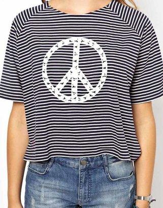 People Tree Organic Cotton Stripe Peace Crop T Shirt