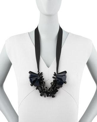 Marni Beaded Ribbon Tie Necklace, Black