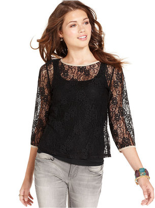 Lily White Juniors Top, Three-Quarter Sleeve Lace