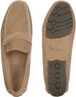 Moreschi Portofino - Tan Perforated Suede Driver Shoes
