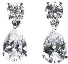 Crislu Sterling Silver Cubic Zirconia Pear Shaped Drop Earrings