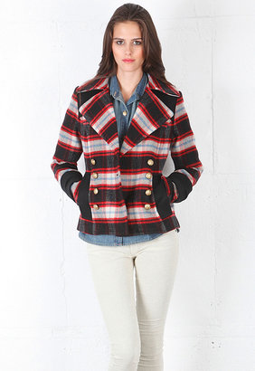 Smythe Pea Coat in Red/Black Plaid