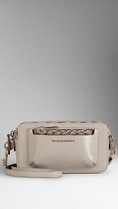 Burberry Patent Crossbody Bag with Snakeskin Coin Purse