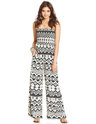 Angie Juniors Pants, Strapless Printed Palazzo Jumpsuit